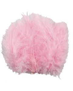 Feathers, size 5-12 cm, light red, 15 pc/ 1 pack