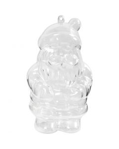 Santa Claus Bauble, H: 13,5 cm, transparent, 2 pc/ 1 pack