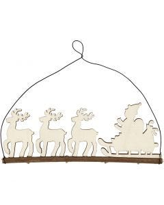 Christmas decoration, cane with reindeer, H: 8 cm, depth 0,5 cm, W: 22 cm, 1 pc