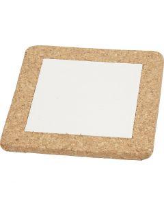 Trivet with cork frame, size 15,5x15,5x1 cm, white, 10 pc/ 1 box