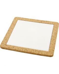 Trivet with cork frame, size 19x19x1,1 cm, white, 10 pc/ 1 box