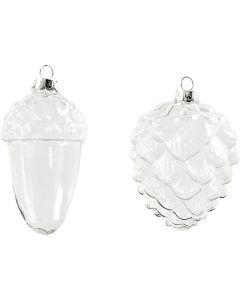Glass Ornaments, H: 9,5+10,5 cm, D: 5,5+7,5 cm, transparent, 4 pc/ 1 pack