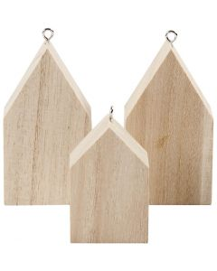 Hanging Houses, H: 4,5+6,5 cm, 3 pc/ 1 pack