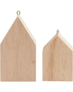 Hanging Houses, H: 4,5+6,5 cm, 30 pc/ 1 pack