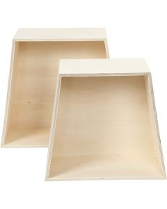 Storage Boxes, H: 24,5+28 cm, depth 12,5 cm, W: 27+31 cm, 2 pc/ 1 set