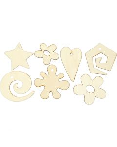 Wooden decorations, size 30-55 mm, 46 pc/ 1 pack