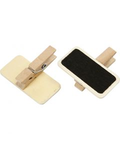 Blackboard with clothes peg, size 4x2 cm, 12 pc/ 1 pack