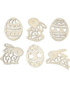 Wooden decorations, easter eggs and bunnies, H: 40 mm, 24 pc/ 1 pack