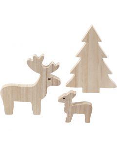Deer and spruce, H: 6+12+15 cm, depth 1,5 cm, 1 set