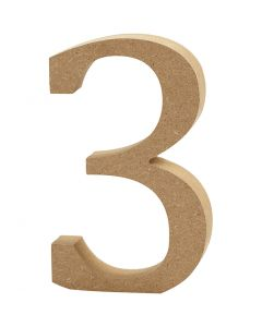 Number, 3, H: 8 cm, thickness 1,5 cm, 1 pc