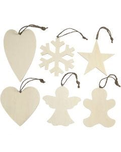 Christmas Ornaments, size 9-11 cm, thickness 4 mm, 6 pc/ 1 pack