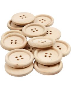 Wooden Buttons, D: 30 mm, hole size 2 mm, 4 holes, 14 pc/ 1 pack