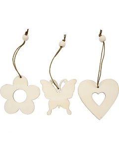 Wooden Ornament, flower, butterfly, heart, size 6 cm, 9 pc/ 1 pack