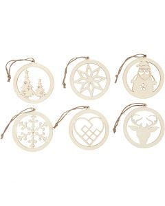 Christmas ornaments, D: 8 cm, thickness 0,3 cm, 6 pc/ 1 pack