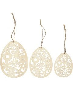 Ornaments, H: 8+10+12 cm, W: 6+7,5+9 cm, thickness 3 mm, 3 pc/ 1 pack