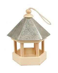 Bird Table with zinc roof, size 22x18x16,5 cm, 1 pc