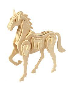 3D Wooden Construction Kit, horse, size 18x4,5x16 cm, 1 pc