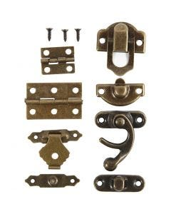 Mini Fittings, size 16x19-19x29,5 mm, antique gold, 15 set/ 1 pack