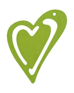 Heart, size 55x45 mm, lime green, 10 pc/ 1 pack