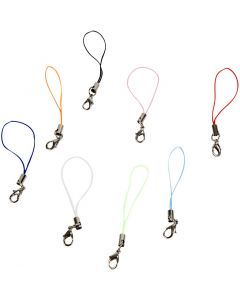 Mobile Phone Strap, L: 7 cm, assorted colours, 10 pc/ 1 pack