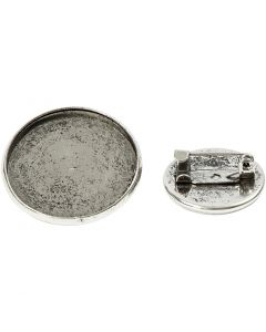 Pin, D: 18+25 mm, antique silver, 6 pc/ 1 pack