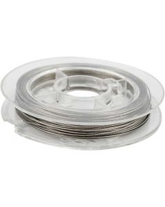 Beading Wire, thickness 0,38 mm, silver, 10 m/ 1 roll
