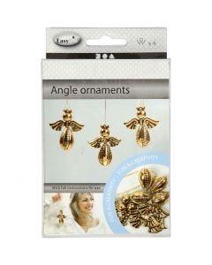 Angel Ornament, H: 5,5 cm, W: 4,5 cm, gold, 4 pc/ 1 pack