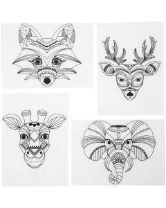 Shrink Plastic Sheets with motives, Wild animals, 10,5x14,5 cm, matt transparent, 4 sheet/ 1 pack