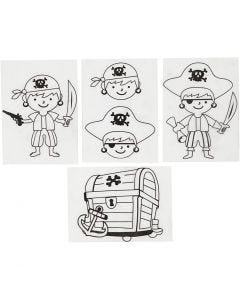 Shrink Plastic Sheets with motives, pirates, 10,5x14,5 cm, matt transparent, 4 sheet/ 1 pack