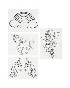 Shrink Plastic Sheets with motives, unicorn, 10,5x14,5 cm, matt transparent, 4 sheet/ 1 pack