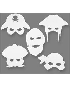 Pirate Masks, H: 16-26 cm, W: 17,5-26,5 cm, 230 g, white, 16 pc/ 1 pack