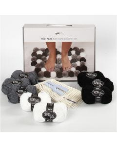 DIY Yarn Kit - Pompoms for Decoration, grey brown, 1 set/ 1 box