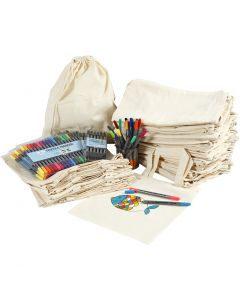 Drawstring and shopping bags with marker, size 27,5x30 cm, assorted colours, 1 set