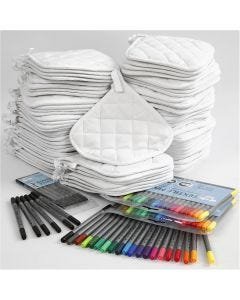 Pot Holders with markers, black, white, 1 set