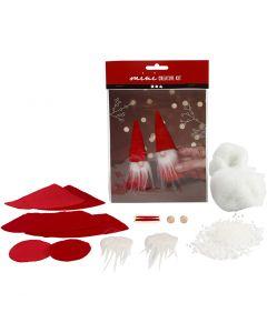 Creative mini kit, Christmas gnome, H: 12 cm, red, 1 set