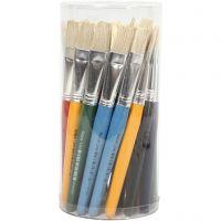 Kids Paint Brushes, flat, L: 19 cm, W: 15 mm, 30 pc/ 1 pack