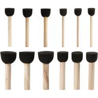 Foam Stencil Brushes, D: 13+20+25+35 mm, 12 pc/ 1 pack