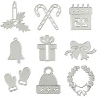 Die Cut and Embossing Folder, christmas motifs, D: 2-6,5 cm, 1 pc