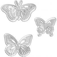 Die Cut and Embossing Folder, butterfly, size 5x4,5+6,5x5+8x4,5 cm, 1 pc