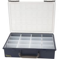 Storage Box, with 16 Removable Insert Boxes, H: 8 cm, size 33,8x26,1 cm, 1 set