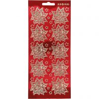 Stickers, poinsetta, 10x23 cm, gold, transparent red, 1 sheet