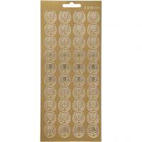 Stickers, lyre, 10x23 cm, gold, 1 sheet