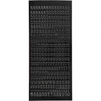 Stickers, small letters, lower case, 10x23 cm, black, 1 sheet