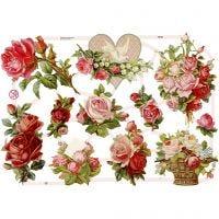 Vintage Die-Cuts, roses, 16,5x23,5 cm, 3 sheet/ 1 pack