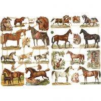 Vintage Die-Cuts, horses, 16,5x23,5 cm, 2 sheet/ 1 pack