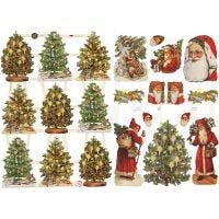 Vintage Die-Cuts, Santa and Christmas tree, 16,5x23,5 cm, 2 sheet/ 1 pack