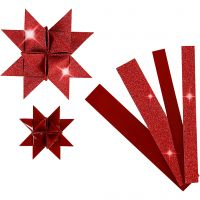 Paper Star Strips, L: 44+78 cm, D: 6,5+11,5 cm, W: 15+25 mm, glitter,varnish, red, 40 strips/ 1 pack