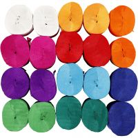 Crepe Paper Streamers, L: 20 m, W: 5 cm, 22 g, assorted colours, 20 roll/ 1 pack