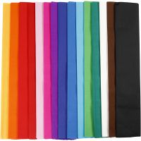 Crepe Paper, L: 2,5 m, W: 50 cm, 22 g, assorted colours, 15 pleats/ 1 pack