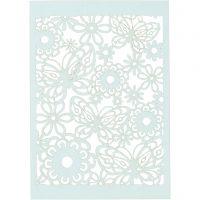 Lace Patterned cardboard, 10,5x15 cm, 200 g, light blue, 10 pc/ 1 pack